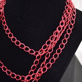 Chain - 11x8mm Coloured Aluminum Chain - Red (Metre)