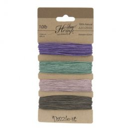 Stringing - .5mm Hemp Cord - Vintage Colours (Card)