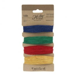 Stringing - .5mm Hemp Cord - Primary Colours (Card)