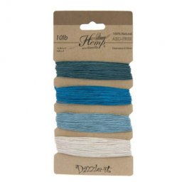 Stringing - .5mm Hemp Cord - Shades of Aqua (Card)