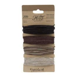 Stringing - 1mm Hemp Cord - Natural Earthy Colours (Card)