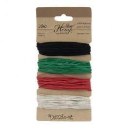 Stringing - 1mm Hemp Cord - Basic Colours (Card)