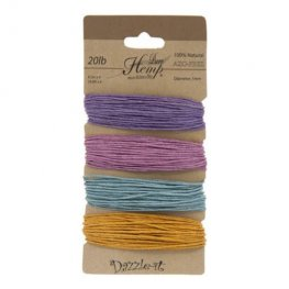 Stringing - 1mm Hemp Cord - Pastel Colours (Card)