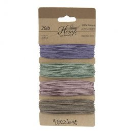 Stringing - 1mm Hemp Cord - Vintage Colours (Card)