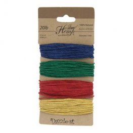 Stringing - 1mm Hemp Cord - Primary Colours (Card)