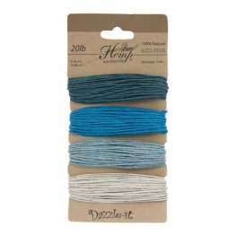 Stringing - 1mm Hemp Cord - Shades of Aqua (Card)