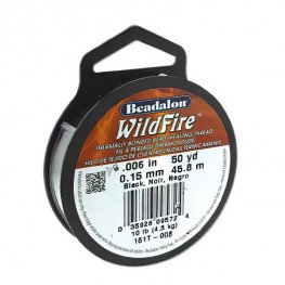 Wildfire Bonded Bead Thread - 50yds .006in - Black (Spool)