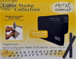 Tools - 4mm Letter Stamp/Punch Collection - Spiral Calligraphy Uppercase (Set)