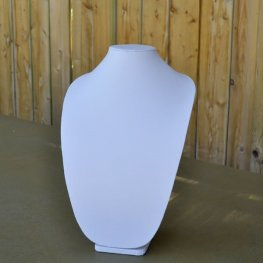 Display Stands - 40cm Bust Necklace Display - White Leatherette