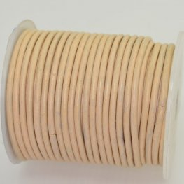 Stringing - 3mm Leather Cord - Ivory Peach (25 meter Spool)