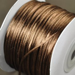 Rattail Cord - 1mm Satin Bugtail Cord - Light Chocolate (Spool)