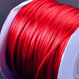 Rattail Cord - 1mm Satin Bugtail Cord - Chinese Red (Spool)