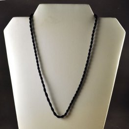 Rattail Cord - 16in Twisted Satin Rattail Necklace - Black