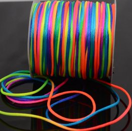 Rattail Cord - 2mm Satin Rattail Cord - Rainbow (Spool)