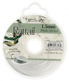 Rattail Cord - 1.5mm Satin Mousetail Cord - White (20 yard bobbin)