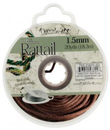 Rattail Cord - 1.5mm Satin Mousetail Cord - Light Chocolate (20 yard bobbin)