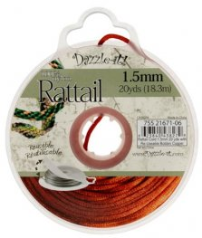 Rattail Cord - 1.5mm Satin Mousetail Cord - Copper (20 yard bobbin)