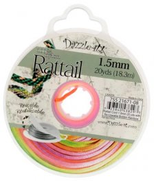 Rattail Cord - 1.5mm Satin Mousetail Cord - Rainbow (20 yard bobbin)