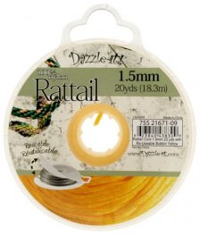 Rattail Cord - 1.5mm Satin Mousetail Cord - Yellow (20 yard bobbin)