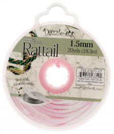 Rattail Cord - 1.5mm Satin Mousetail Cord - Light Pink (20 yard bobbin)