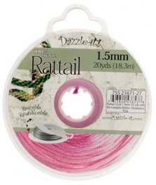 Rattail Cord - 1.5mm Satin Mousetail Cord - Strawberry Pink (20 yard bobbin)
