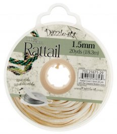 Rattail Cord - 1.5mm Satin Mousetail Cord - Ivory (20 yard bobbin)