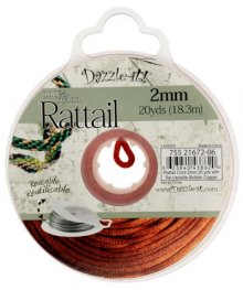 Rattail Cord - 2mm Satin Rattail Cord - Copper (20 yard bobbin)