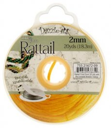 Rattail Cord - 2mm Satin Rattail Cord - Yellow (20 yard bobbin)