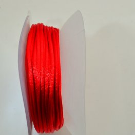 Rattail Cord - 2mm Satin Rattail Cord - Red (20 yard bobbin)