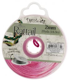 Rattail Cord - 2mm Satin Rattail Cord - Strawberry Pink (20 yard bobbin)
