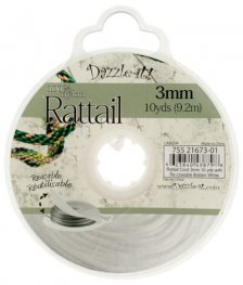 Rattail Cord - 3mm Satin Fat Rattail Cord - White (10 yard bobbin)