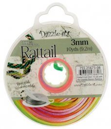 Rattail Cord - 3mm Satin Fat Rattail Cord - Rainbow (10 yard bobbin)
