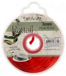 Rattail Cord - 3mm Satin Fat Rattail Cord - Red (10 yard bobbin)