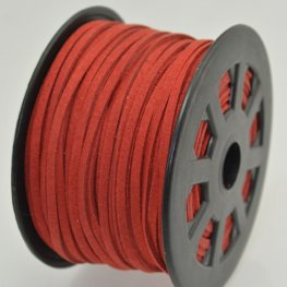 Leather Lacing - 2.7mm Faux Suede Lacing - Red (Spool)