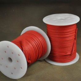 Cord - 3mm Flat Waxed Cotton Cord - Lucky Red (Spool 50 M)