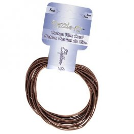 Dazzle-It - 1mm Waxed Cotton Cord - Dark Brown (Pack 5 yds)