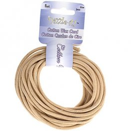 Dazzle-It - 3mm Round Waxed Cotton Cord - Natural (Pack 5 yds)