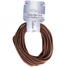 Dazzle-It - 3mm Round Waxed Cotton Cord - Brown (Pack 5 yds)