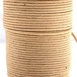 Cotton Cord - 1mm Round Waxed - Natural (25m)
