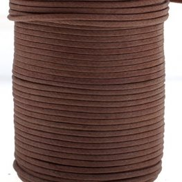 Cotton Cord - 1mm Round Waxed - Brown (25m)