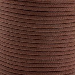 Cotton Cord - 1.5mm Round Waxed - Brown (25m)