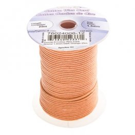 Cotton Cord - 1.5mm Round Waxed - Dark Orange (25m)