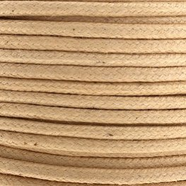 Cotton Cord - 2mm Round Waxed - Natural (25m)