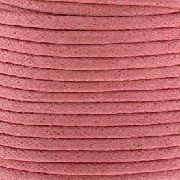 Cotton Cord - 2mm Round Waxed - Neon Pink (25m)