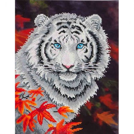 Diamond Dotz - 14x18in Wall Art Intermediate Kit - White Tiger in Autumn