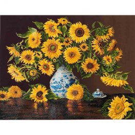 Diamond Dotz - 22x28in Wall Art Advanced Kit - Sunflowers in a china vase