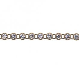 Preciosa - ss13 Rhinestone Trim - Antique Gold Casing/Crystal (10 metres)
