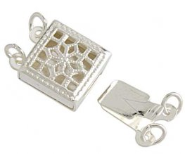 Box Clasp Victorian Filigree Square 2-Strand - Sterling