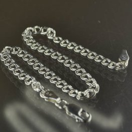Sterling - Finished Chain - 7.5in Bracelet - Parallel O - Sterling