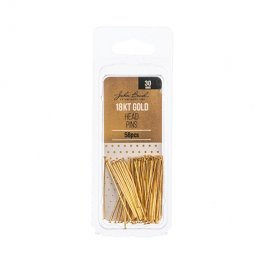 Headpins Flat head 30mm / 21ga - 18kt Goldplated (Pack)